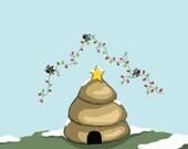 """O' Christmas Bees - Funny Pun Christmas Card - 5x7"""" Greeting Card"""