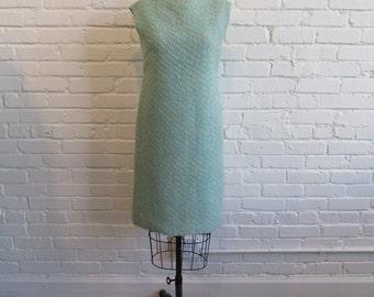 1960s Blue Woven Dress // 60s Shift Dress // Vintage 60s Blue Cream Woven Dress