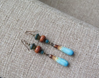 blue and brown earrings, artisan earrings, boho earrings, unique earrings, porcelain earrings, glass earrings, rustic earrings, unique gift