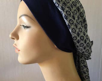 Headscarf -  White and Navy Chiffon Headscarf - for women suffering hair loss due to cancer and or chemo therapy. Headwear.