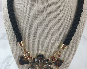 Flower & Animal Print Statement Necklace