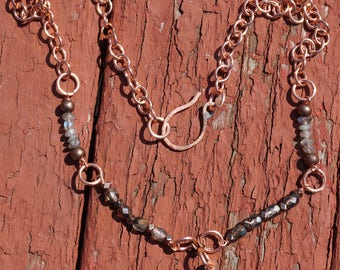 Teardrop Lacy Agate and Copper Necklace