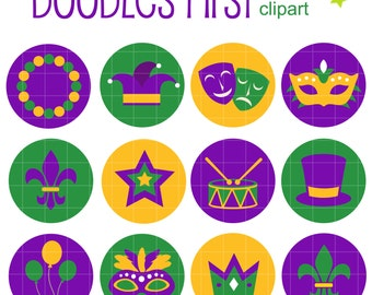 Mardi Gras Icons Collage Sheets for Scrapbooking Card Making Cupcake Toppers Paper Crafts Digital Collage Sheet