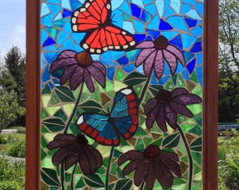 Monarch Butterfly Stained Glass Mosaic Panel - Butterfly Garden Stained Glass Monarch Mosaic - Stained Glass Butterfly Mosaic Monarch Panel