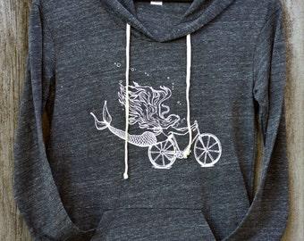 Mermaid Bike hoodie/ Mermaid Sweatshirt / Bike Sweatshirt / Gray Alternative Apparel Hoodie