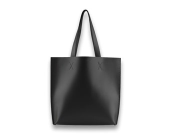 Smooth leather TOTE bag | #toxleather handmade tote | BLACK
