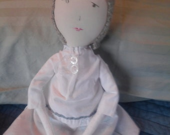 """Rag doll """"Snow"""", Jess Brown inspired, upcycled textiles, heirloom quality"""