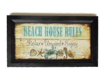 Beach House Rules, Sign, Relax, Unwind, Enjoy, Art Print, Beach House Decor, Wall Decor, Handmade, 21X12, Custom Wood Frame, Made in the USA