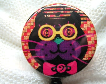 retractable id badge holder with black cat,crazy cat id badge reel,inexpensive id badge,cheap gift,secret santa gift,co-worker gift