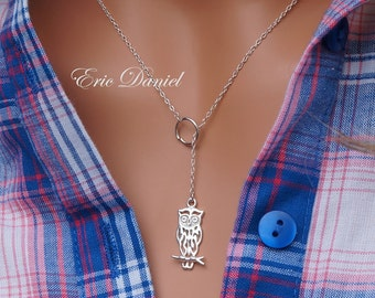 Owl Lariat 10K 14K 18K in Solid White, Yellow or Rose Gold, Owl Necklace, Owl Lover Jewelry, Solid Gold Owl