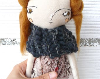 Art doll with pure wool hair. 32 cm.