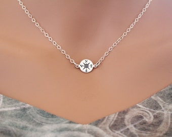 Sterling Silver Compass Link Necklace, Compass Connector Charm Necklace, Small Compass Necklace, Compass Necklace, Silver Compass Necklace