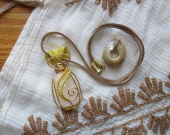 Just Peachy || Peach Selenite Wire Wrap Necklace || Vegan Suede || Hippie Crystal Healing