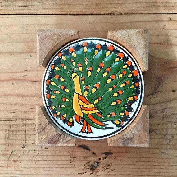 60s Handmade Greek Ceramic Coasters : Clariss Keramik Kos