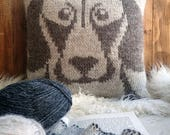Knitting patterns, pdf, weimaraner, knitting, cushion cover, dog, dog face, hand knitted, patterns, gifts for knitters, cushion, cute