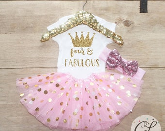 Fourth Birthday T-Shirt Outfit / Baby Girl Clothes Four Fabulous 4 Year Old Tutu Outfit Four Birthday Set 4th Shirt Princess Crown 205