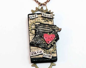 One of a kind mixed media statement assemblage necklace - Say Some Thing New