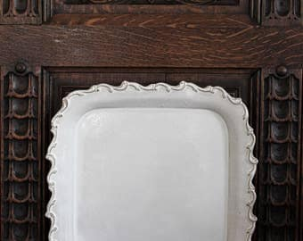Large Square Serving Tray, Handmade Square Serving Platter, White Stoneware Platter, Handmade Square Charger Plate, Ornate Square Plate