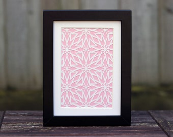 Framed 5x7 Inch Plume Repeat Geometric Paper Cut (Other Colours Available)