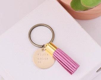 Alpha Delta Pi Sorority Keychain, Personalized ADPi Sorority Key Chain, ADPi Sorority Tassel Keychains, Big Little Keychain