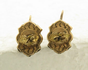 """Antique Victorian 14 kt Gold Hollowed Form Engraved Base (.5"""" 3/8"""" x 2 mm) w/ Floral Center Piece Wire Post Earrings."""