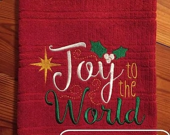 Joy to the world saying embroidery design - Christmas embroidery design - saying embroidery design
