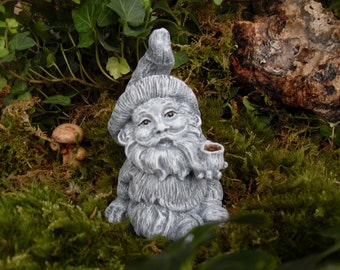 Nice Garden Gnome,Smoking Garden Gnome Statue, Pipe Smoking Gnome, Concrete Garden  Gnome,