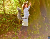 Grey Custom Colour Squirrel Costume Set!  Ears and Tail Luxury Faux Fur Swirly Custom Girl Shape Long Costume Cosplay Tippy Toe Monkey Joe