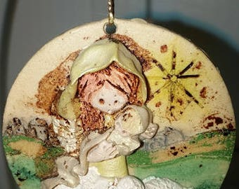 Girl with Lambs Resin Ornament
