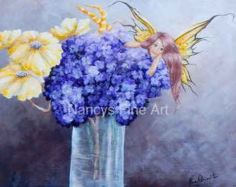 Fairy wall art,  hydrangea fairy painting, yellow and purple fairy wall art, original painting by Nancy Quiaoit.
