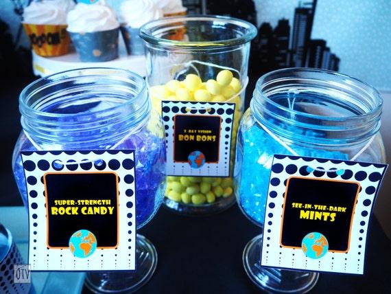 SUPERHERO - Comic Book Personalised CANDY Jar Labels PRINTABLE - Digital Pdf