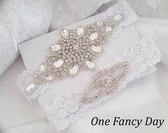 Crystal Wedding Garter Set, Stretch Lace Garter, Rhinestone Crystal Bridal Garters, Ivory Bridal Garter, White Lace Garter