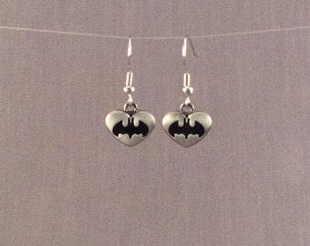 Batman Earrings, Batman Jewelry, FREE SHIPPING, Geek Superhero Earrings, Batman Heart Charm Earrings, Justice League Batman Earrings, Geek