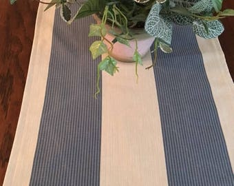 Wide blue and white striped table runner in soft cotton and poly blend