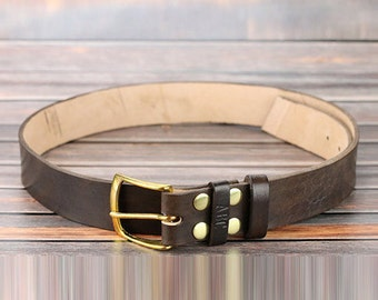 """Dark brown leather belt strap Custom leather belt with initials Solid brass belt buckle 1.5"""" width Brass snap belt Christmas gift for dad"""