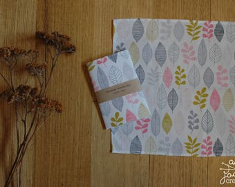 Organic Pink & Gold Leaf Handkerchief / Womans Handkerchief / Waste Free / Eco Friendly / Mothers Day / Organic Cotton