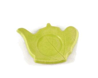 Teapot Shaped Dish - spoon rest - incense holder - neon green dish - leaf print dish