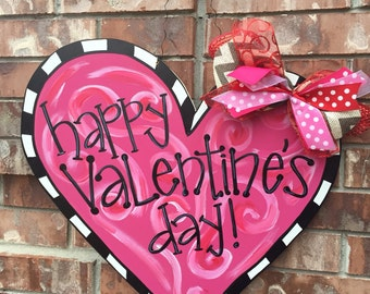 valentines door hanger valentines wreath valentines decor heart door hanger heart wreath
