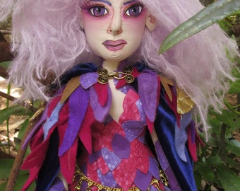 OOAK cloth art doll, Sorceress