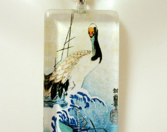 Crane on waves by Ando Hiroshige glass pendant - BGP12-020