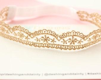 Lace Headband - Lace Crown - Lace Hairband - Lace Tiara - Newborn Headband - Gold Newborn Headband - Gold Lace Headband - Baby Photo Props
