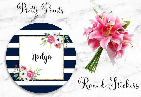 Floral Stickers - Personalized Stickers - Navy - Set of 12 Round Labels - Personalized Labels - Navy Stripe, Tags, Save the Date Stickers