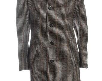 Vintage 1960's Hepworths Check Wool Coat L - www.brickvintage.com
