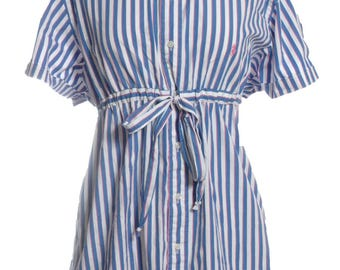 Vintage Ralph Lauren Upcycled Striped Shirt Dress 16 - www.brickvintage.com