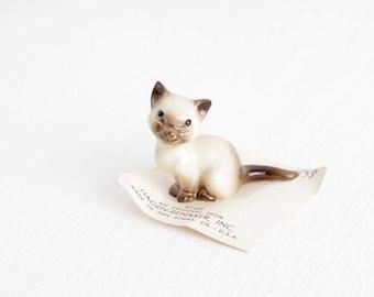 Vintage Tiny Hagen Renaker Siamese Cat Figurine, Little Kitty, 0860438 Mama Cat