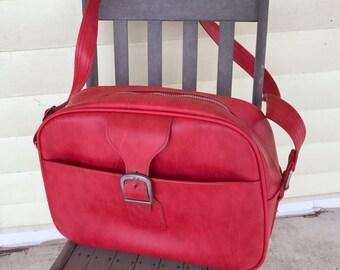 Vintage Overnight Flight Bag Carry On/ Samsonite Royal Traveller/Cherry Red/1960s 70s/Shoulder Strap/Laptop carrier/Madmen/Sidekicks
