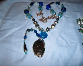 Costume Jewelry Blue / Silver Necklace