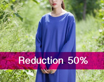 Special offer/Cotton dress/Tunic - Dress/Tunic fall/winter - Short dress classic - Round Neck - Long sleeves dress - Made to order