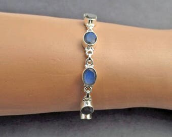 Labradorite Silver Bracelet, Gemstone Bracelet, Labradorite Jewelry, Gift for Her