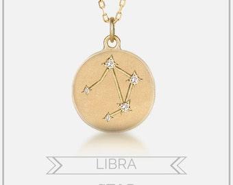 Libra necklace, Libra star constellation disc pendant, Personalized zodiac astrology jewelry, diamonds & 14k yellow rose white gold, sc-n101
